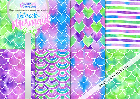 Watercolor Mermaid Scales digital paper collection