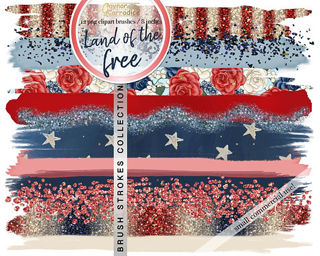 Land of the free -  4th of July brush strokes clipart collection