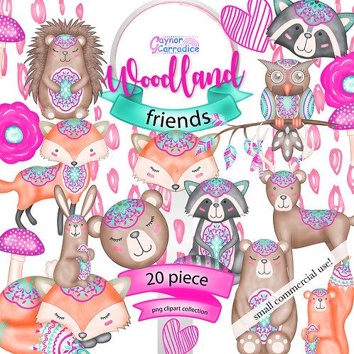 Woodland friends Clipart Collection
