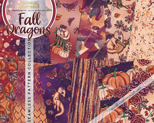 Autumn dragons abstract and floral seamless pattern coll