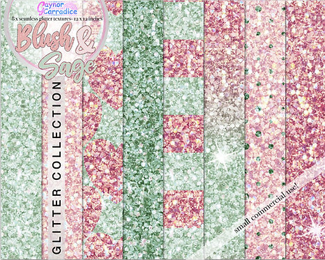 Blush and Sage seamless Glitter papers