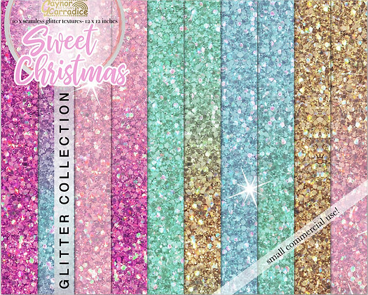 Christmas unicorn glitter digital paper collection