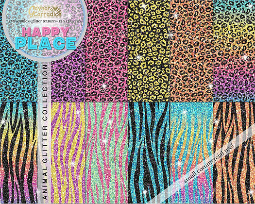 Happy Place animal glitter backgrounds
