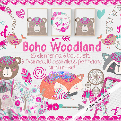 Woodland Animals Designer Clipart & Paper Collection