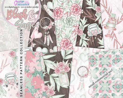 Rose Gold and BlushWedding digital paper collection