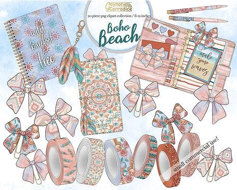Boho beach planner clipart