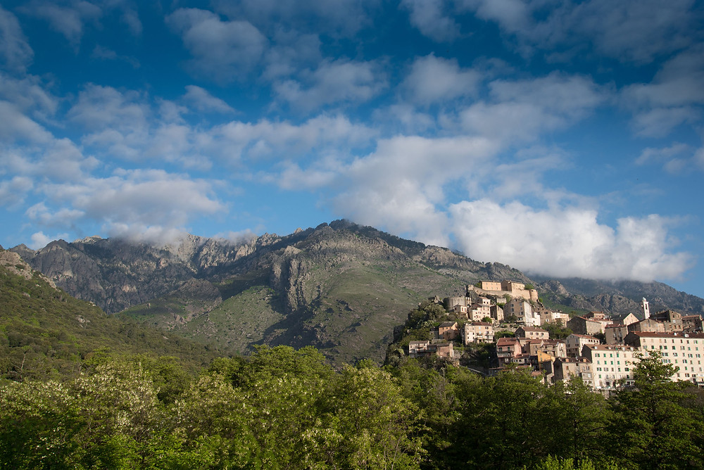 The town of Corte, at the foothills of the Gorges of Restonica