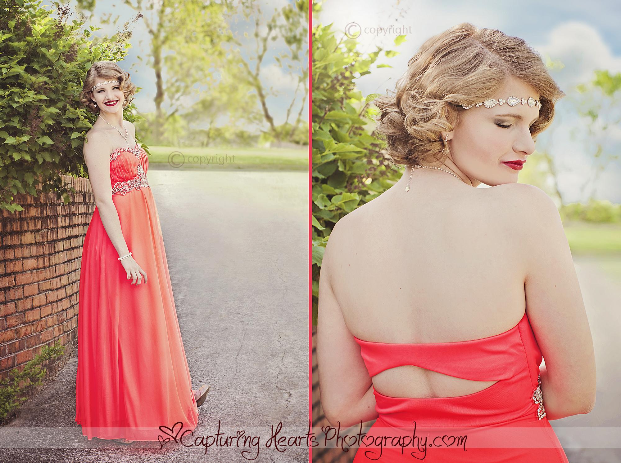prom photos bright coral dress 1920s theme 2 web