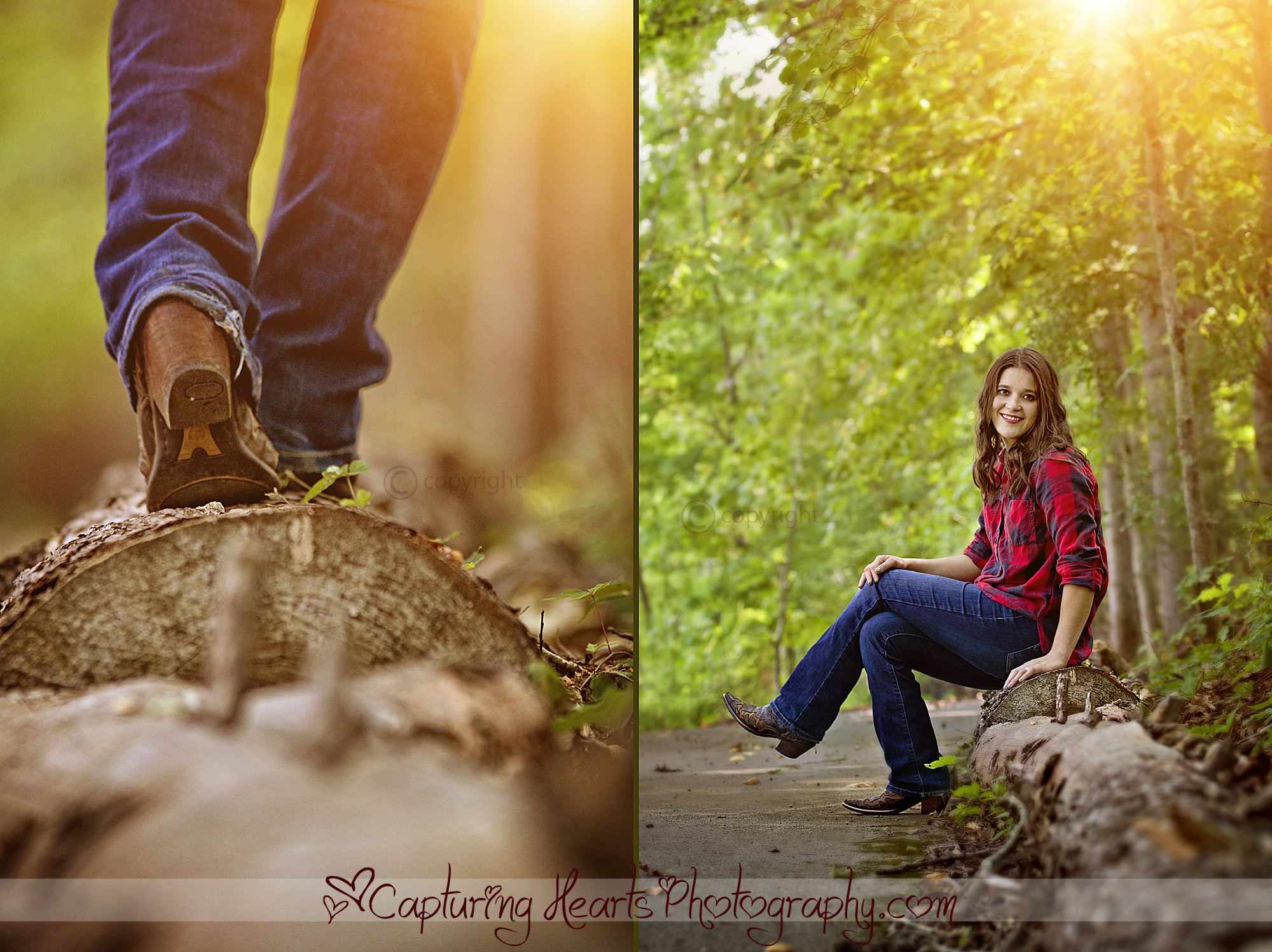 country girl walking woods college web