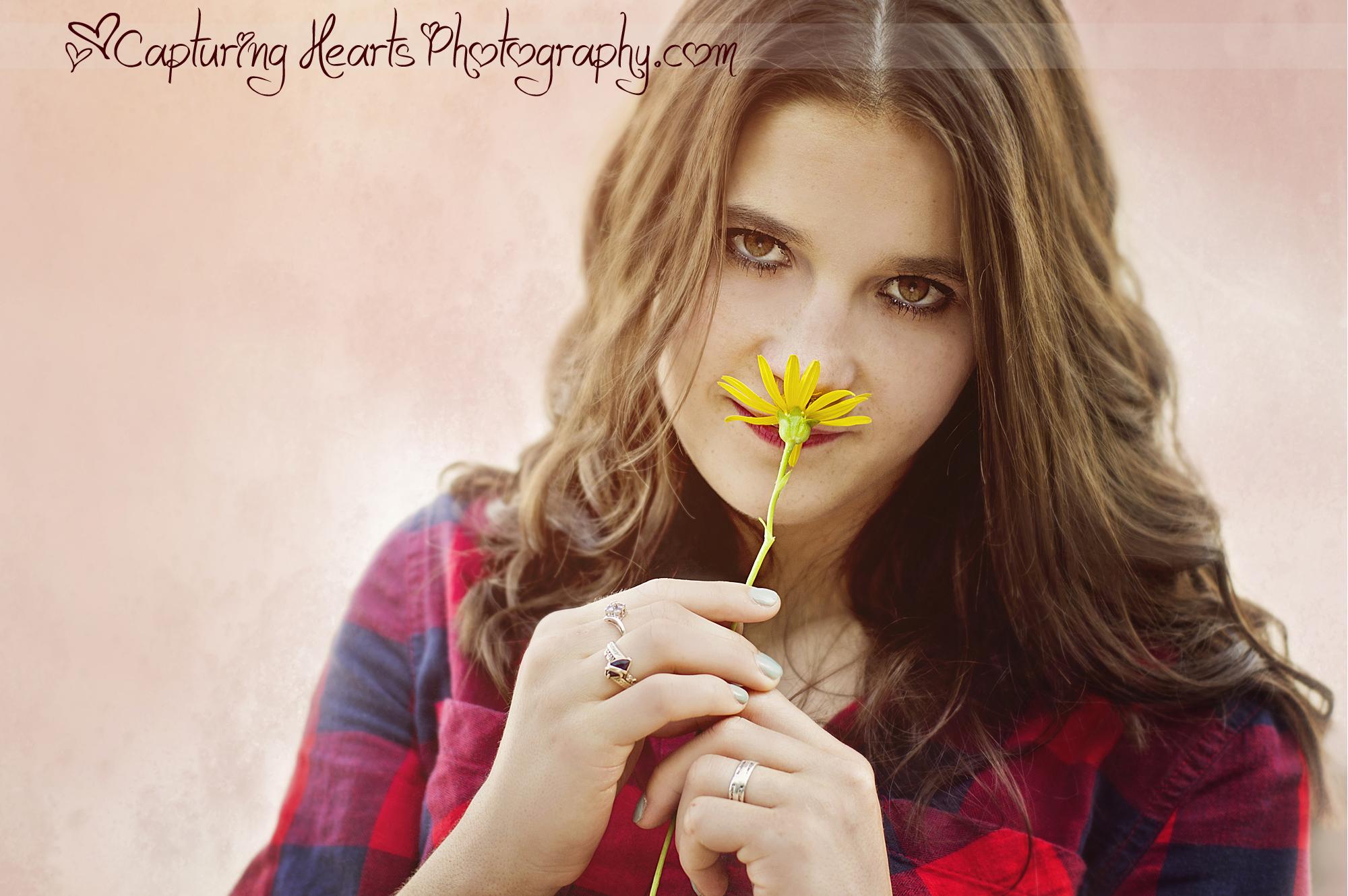 girl with flower college seniorweb