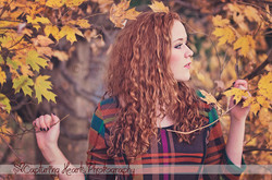 Red+Curly+Hair+Autumn+Yellow+Leaves+Dress+Photography
