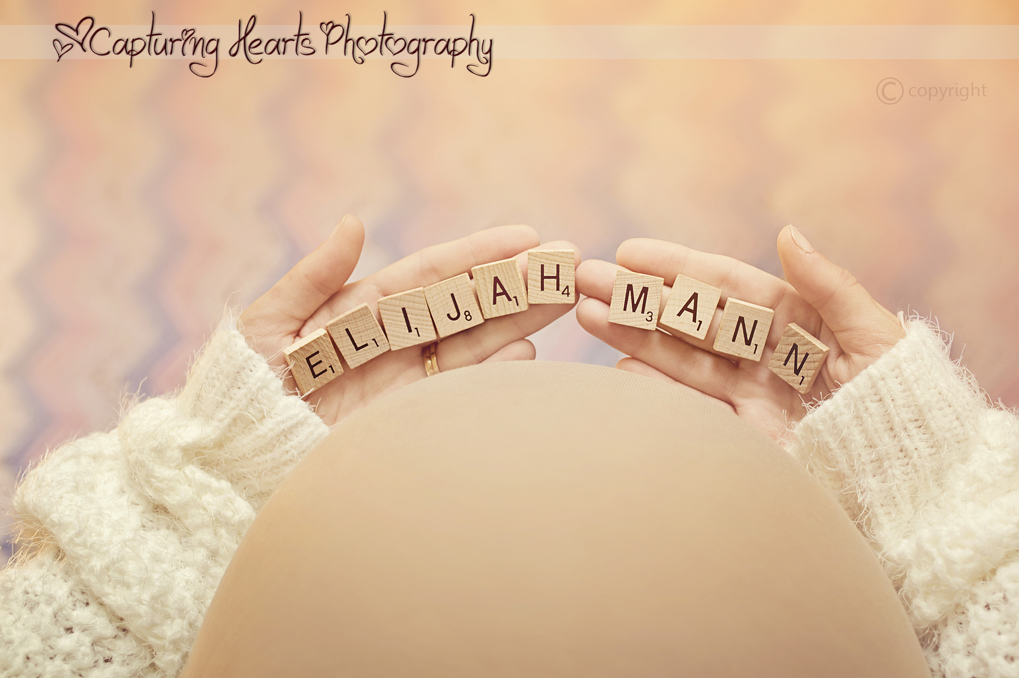 maternity scrabble tile shot