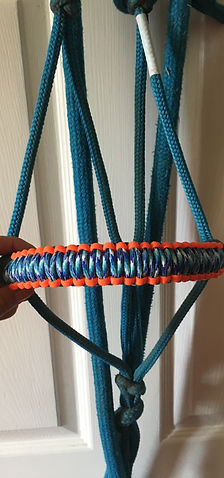 Rope Halter Noseband Teal Orange.JPG