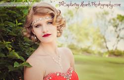 prom photos bright coral dress 1920s theme web