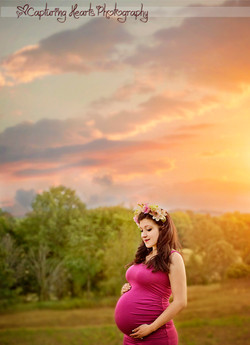 maternity photoraphy knoxville tn pregnant pink sunset