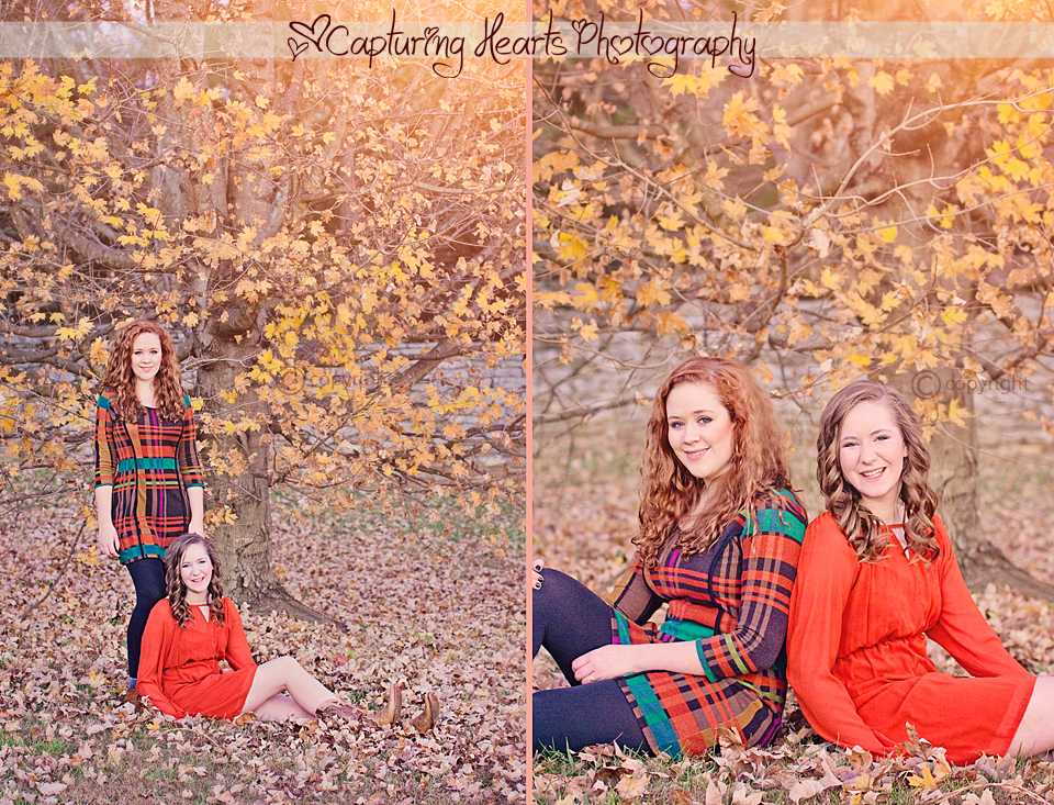 Sisters+Knoxville+Botanical+Gardens+Autumn+Leaves+Orange+Dresses