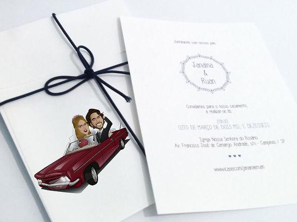 Caricatura para noivos convite