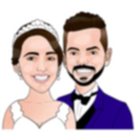 Caricatura de noivos para convite de casamento