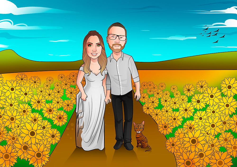 Caricaturas de Noivos da Larissa e Rogério