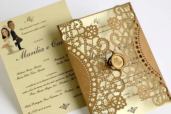 Caricatura noivos convite casamento