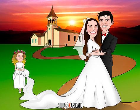 Caricatura de Casal - Com Cenário ou Veículo
