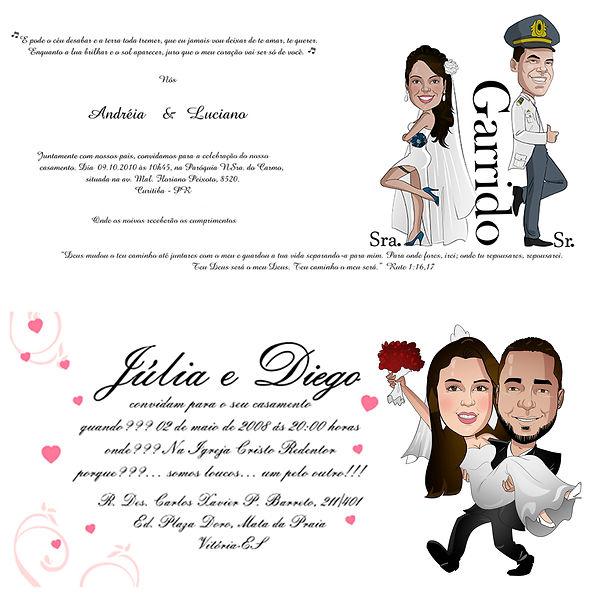 Caricatura noivos para convite