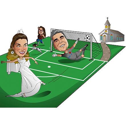 Caricatura para noivos com cenário