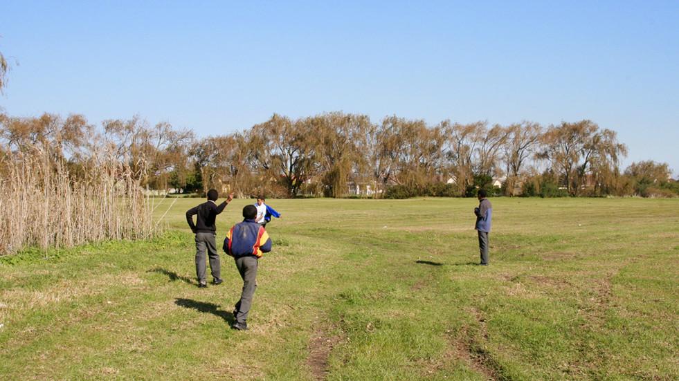 Recess, open feild directly behind the school grounds