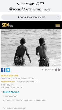 "Social Documentary Network's Exhibit featuring, ""Black Boy Joy."""
