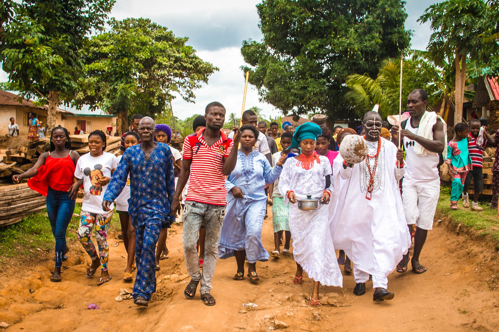 Every celebrant is walked by his family to gather with his age mates