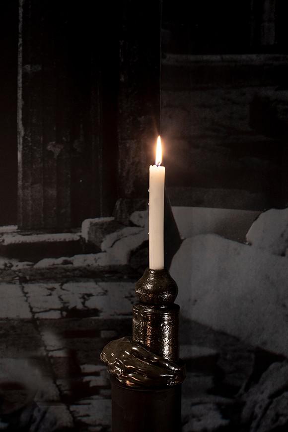 Crypt, Glazed ceramic, candle