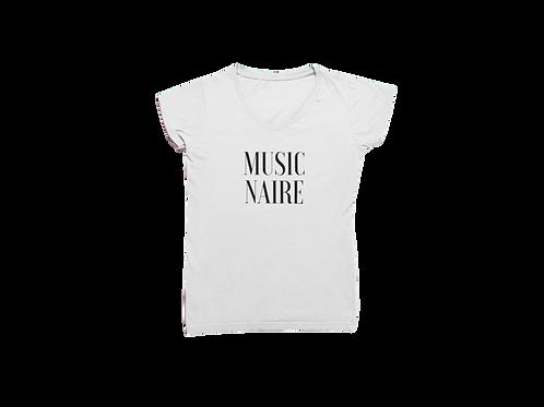 Women White V-Neck Tee-Shirt