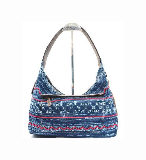 Hmong Tote Bag with Red Cord, Hobo Bags, Tribal Bag, Indigo Purses, Gift Ideas