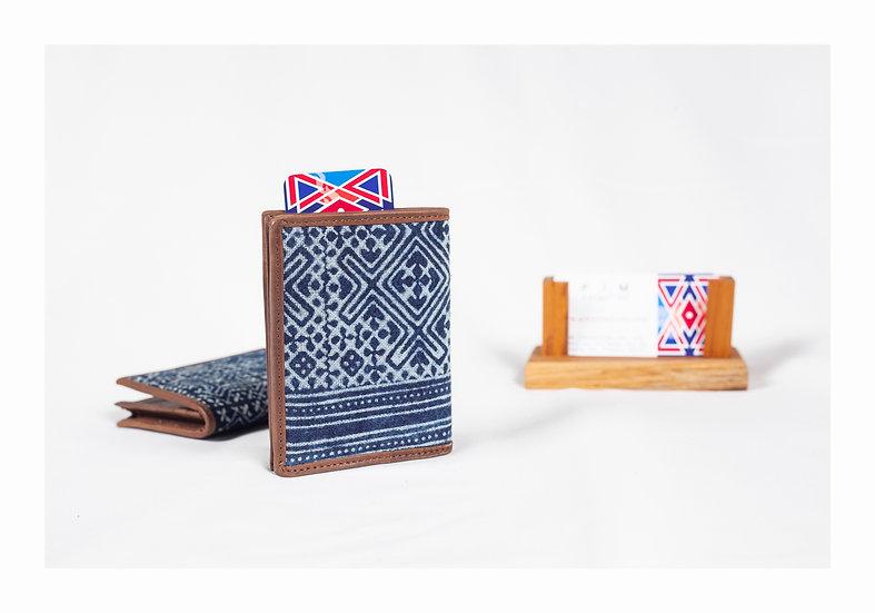 Indigo Cotton Business Card Holder, Hmong Batik, Gift Idea