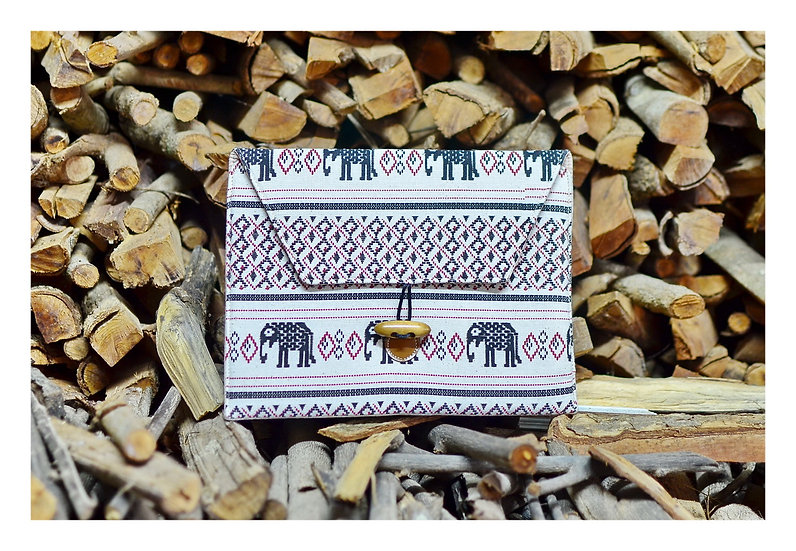 Handmade Bohemian Tablet Sleeve White with Black Elephant