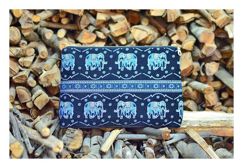 Unisex Clutch, Wallet Pouches, Clutch Bag Purse, Black & Blue Elephant