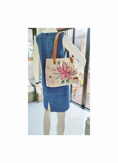 Natural Hemp Bag With Hand Embroidery, Shoulder Bag, Hemp Purses, White Bag
