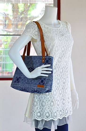 Short Strap Shoulder Bag, Tote, Handbag, Indigo Blue