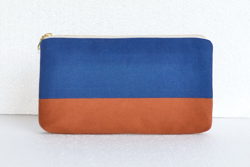 Splash Resistant Cotton Clutch Blue and Brown