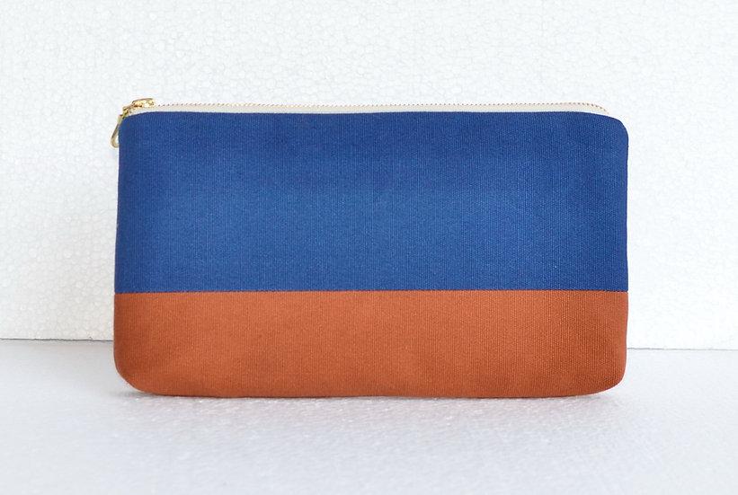 Splash Resistant Cotton Clutch Blue and Brown