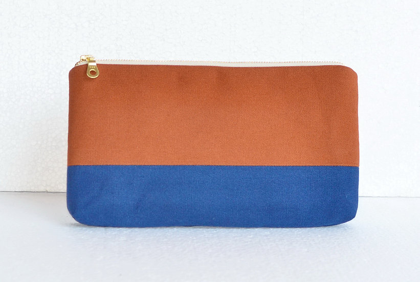 Splash Resistant Cotton Clutch Brown and Blue