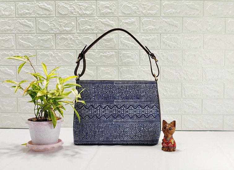 Indigo Tribal Bag, Ethnic Block-printed Batik Hobo Bag in Indigo