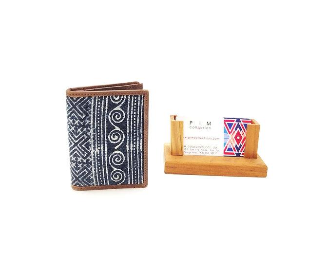 Indigo Cotton Business Card Holder, Hmong Batik
