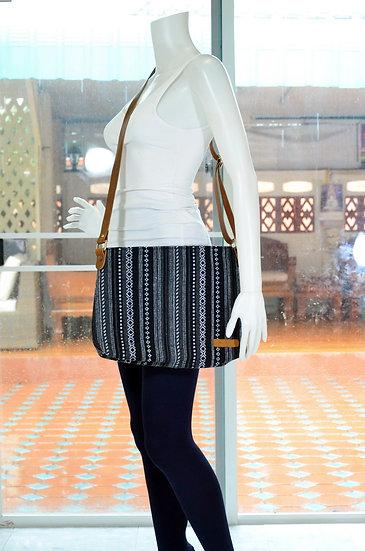 Long Strap Cross Body Bag, Shoulder Bag, Messenger Bag, Black Stripe