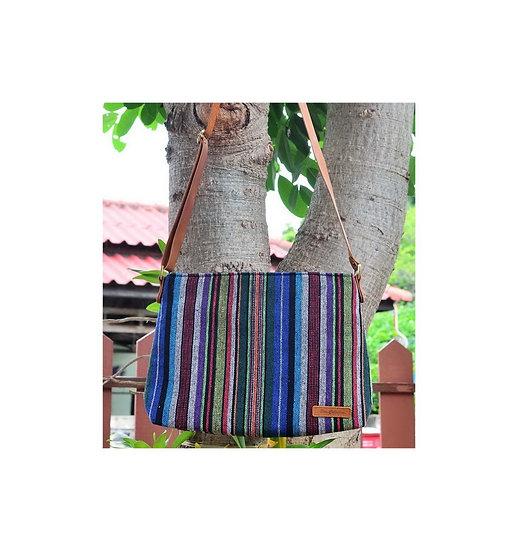 Long Strap Cross Body Bag, Shoulder Bag, Messenger Bag, Blue Stripe