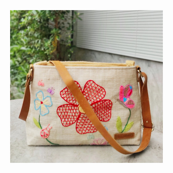 Natural Hemp Bag With Hand Embroidery, Crossbody Bag, White Bag