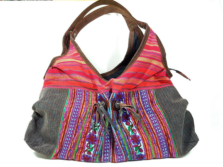 Handmade Gift for Her Bohemian Shoulder bag Red and Black Colour In Unique Thai