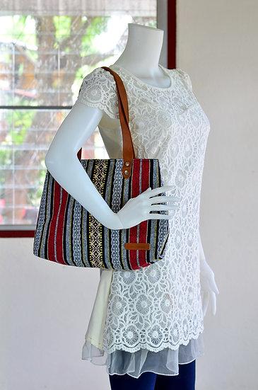 Short Strap Shoulder Bag, Tote, Handbag, Red Stripe