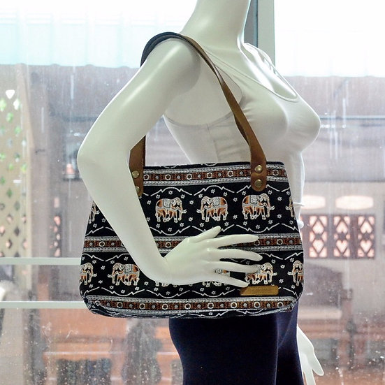 Short Strap Shoulder Bag, Tote, Handbag, Black & Brown Elephant