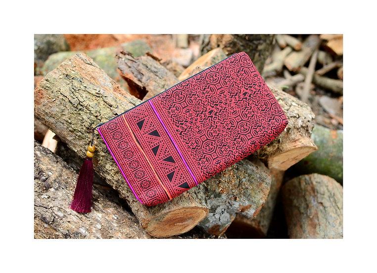 Hmong Printed Cotton Wristlet, Tribal Bag, Bohemian Clutch, Red Handbag